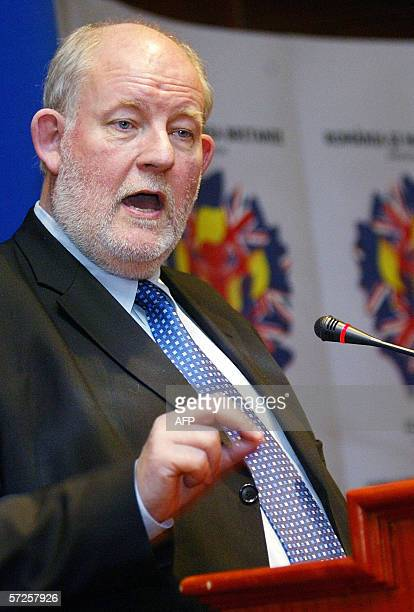 British Home Secretary Charles Clarke addresses the audience before the signing of the memorandum with Romanian Internal Affairs ministry Vasile...