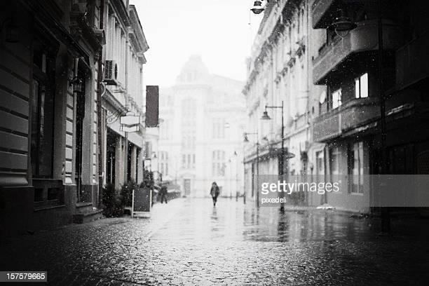 Bucarest street pendant l'hiver