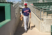 Buck Britton of the Minnesota Twins looks on and takes the field against the Boston Red Sox during a spring training game on March 2 2016 at JetBlue...