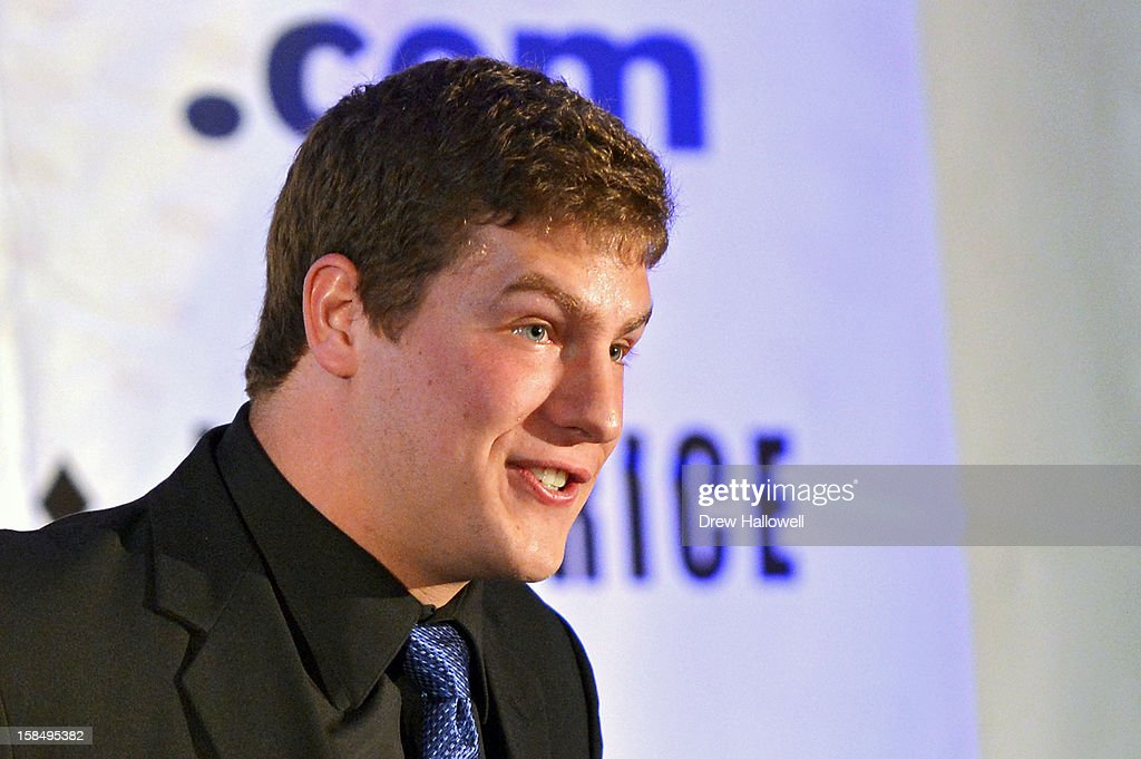 Buck Buchanan Award winner Caleb Schreibeis speaks during the Sports Network's 26th Annual FCS Awards Presentation at the Sheraton Society Hill on December 17, 2012 in Philadelphia, Pennsylvania.