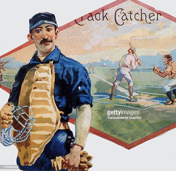 Buck Ewing star catcher for the NY Giants is featured on a cigar box label issued circa 1888 in New York City