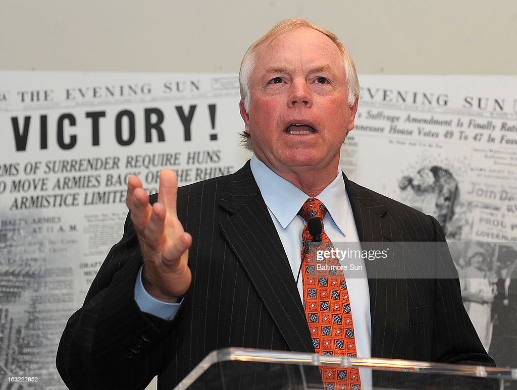 Buck Showalter, Baltimore Orioles manager, receives his Marylander of the Year award from the Baltimore Sun and answers audience questions at The Sun, March 4, 2013, in Baltimore, Maryland.