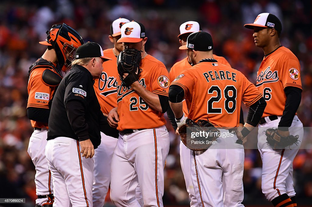 <a gi-track='captionPersonalityLinkClicked' href=/galleries/search?phrase=Buck+Showalter&family=editorial&specificpeople=208183 ng-click='$event.stopPropagation()'>Buck Showalter</a> #26 of the Baltimore Orioles relieves starting pitcher <a gi-track='captionPersonalityLinkClicked' href=/galleries/search?phrase=Bud+Norris&family=editorial&specificpeople=5746311 ng-click='$event.stopPropagation()'>Bud Norris</a> #25 in the fifth inning against the Kansas City Royals during Game Two of the American League Championship Series at Oriole Park at Camden Yards on October 11, 2014 in Baltimore, Maryland.
