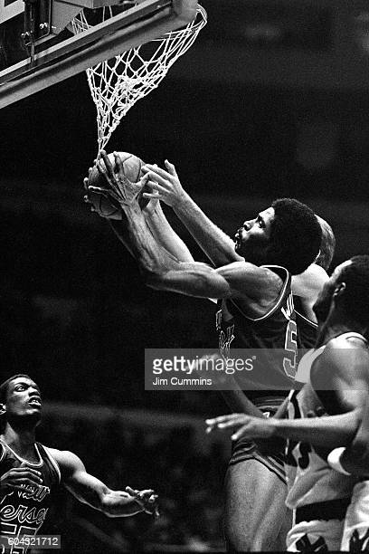 Buck Williams of the New Jersey Nets grabs the rebound against the New York Knicks at Madison Square Garden circa 1981 in New York New York NOTE TO...