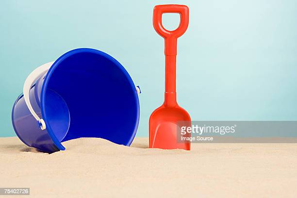 Bucket and spade on beach