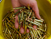 A bucket full of AR15 233 or 556 caliber ammunition is shown here at Barnes Bullets on March 5 2015 in Mona Utah The ATF is considering a...