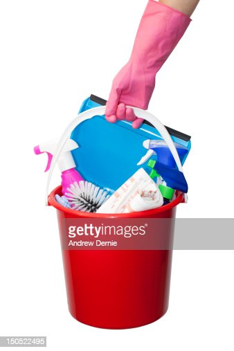 Bucket of cleaning products : Stock Photo