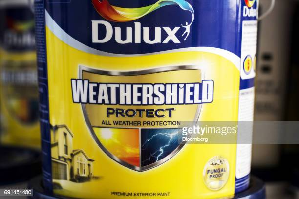 A bucket of Dulux branded paint sits on a shelf inside a warehouse at an Akzo Nobel India Ltd factory in Gwalior Madhya Pradesh India on Thursday...