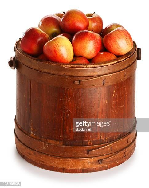 Seau de pommes rouges juteuses