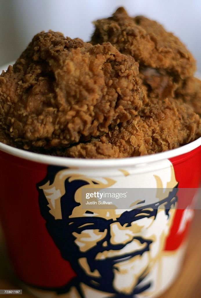 A bucket of KFC Extra Crispy fried chicken is displayed October 30 2006 in San Rafael California KFC is phasing out trans fats and plans to use zero...