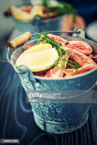 Bucket of pink shrimps