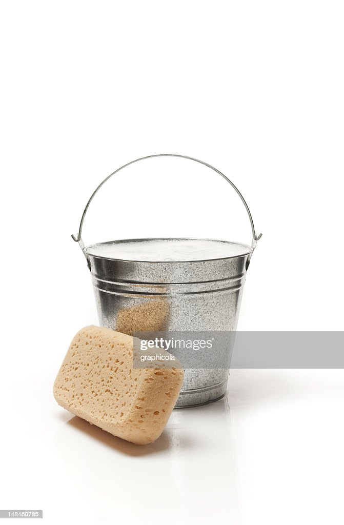 Bucket of water and sponge for cleaning