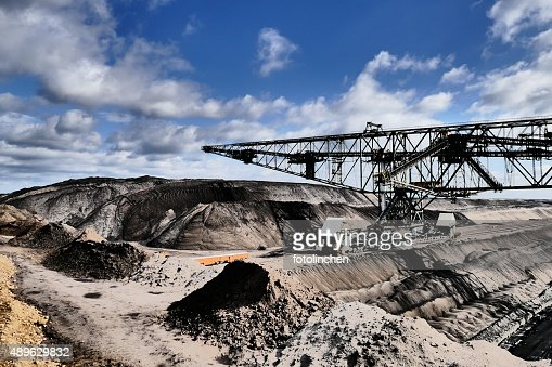 Bucket wheel excavator in a lignite mine