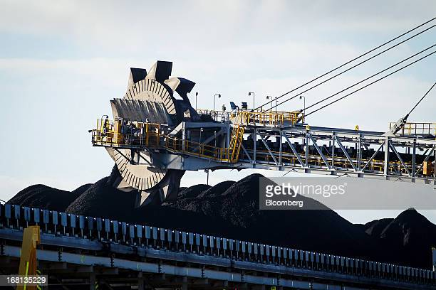A bucket wheel reclaimer operates at the Newcastle Coal Terminal in Newcastle north of Sydney Australia on Friday May 3 2013 Australia's forecast...