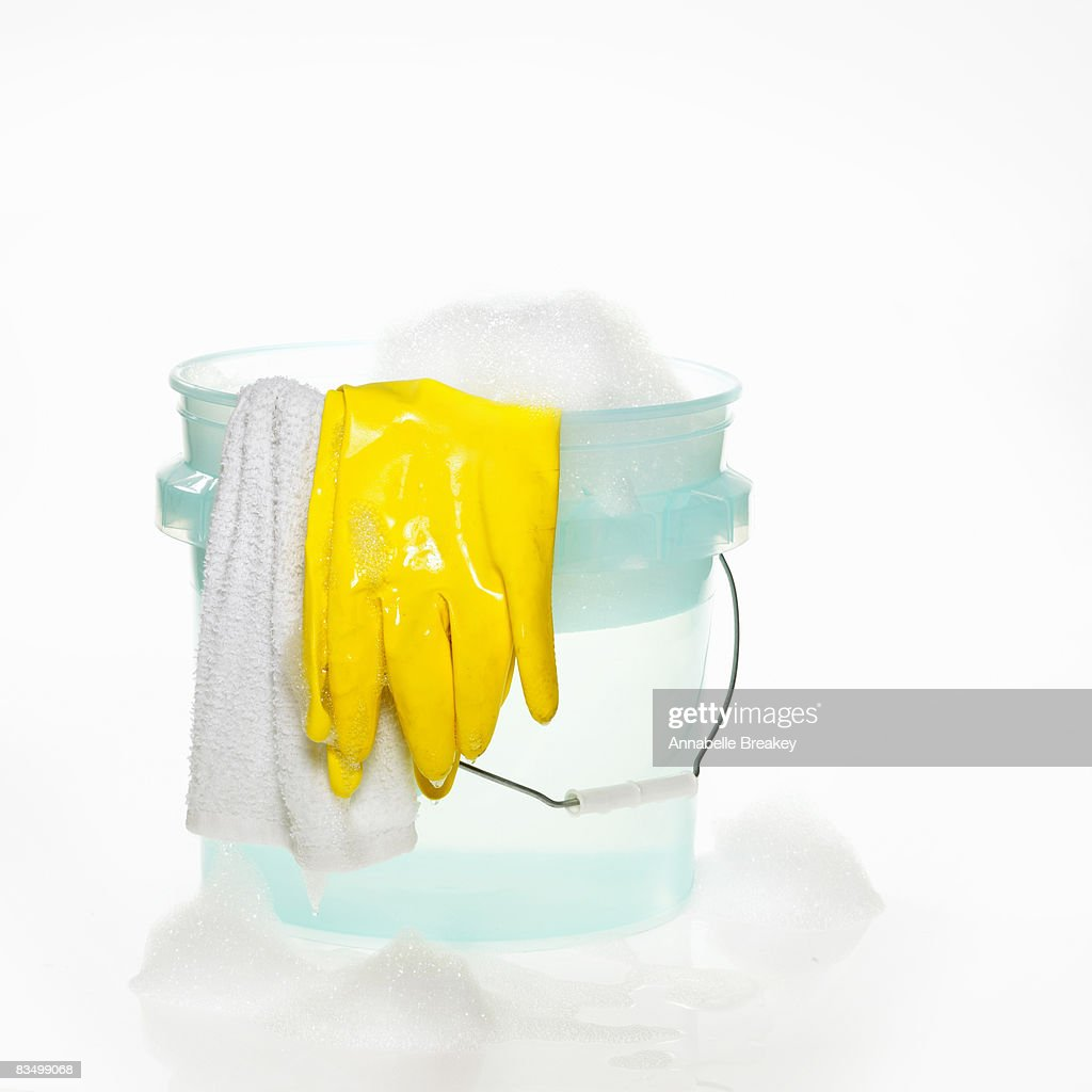 Bucket with Soapy Water, Suds and Rubber Gloves