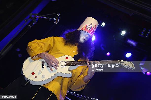 Buckethead performs at the Black Rock Coalition Presents All The Woo In The WorldAn AllStar Celebration benefit concert for Bernie Worrell event at...