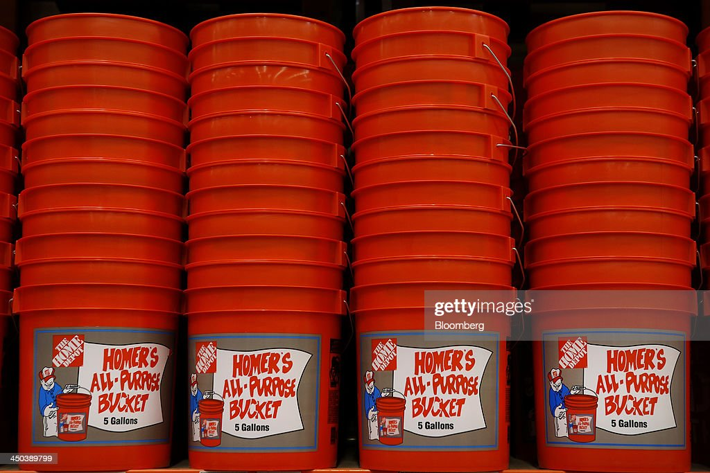 buckets are displayed for sale at a home depot inc store in torrance california