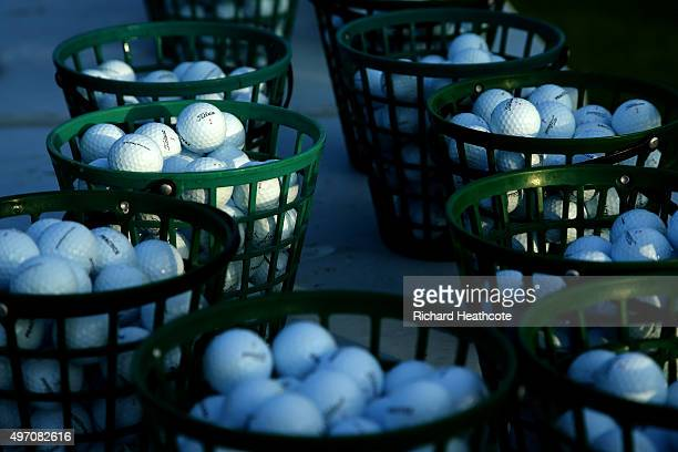 Buckets of golf balls wait for players to pick them up on the practise range before the first round of the European Tour Qualifying School Final at...