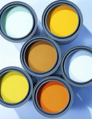 Buckets of paint, overhead view