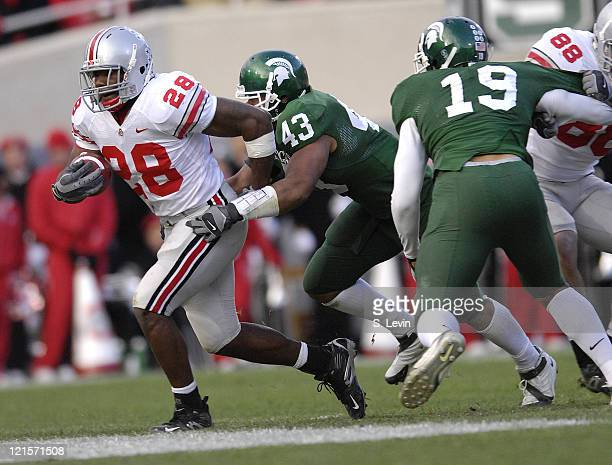 Buckeye running back Chris Wells during the game between the Michigan State Spartans and the Ohio State Buckeyes at Spartan Stadium in East Lansing...