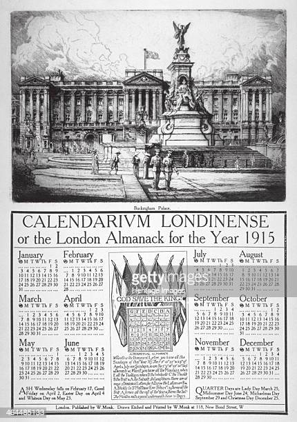 Buckingham Palace Westminster London 1914 Calendarium Londinense or the London Almanack for 1915 surmounted by a view of Buckingham Palace with the...