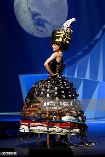 '222 Buckle Belts' by Annina Gull of Switzerland is modelled in the Open Section during the World of WearableArt Opening Night 2017 at TSB Bank Arena...