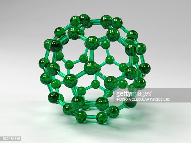 Buckminsterfullerene molecule. Computer artwork showing the molecular structure of buckminsterfullerene, a structurally distinct form (allotrope) of carbon that has 60 carbon atoms arranged in a spherical structure.