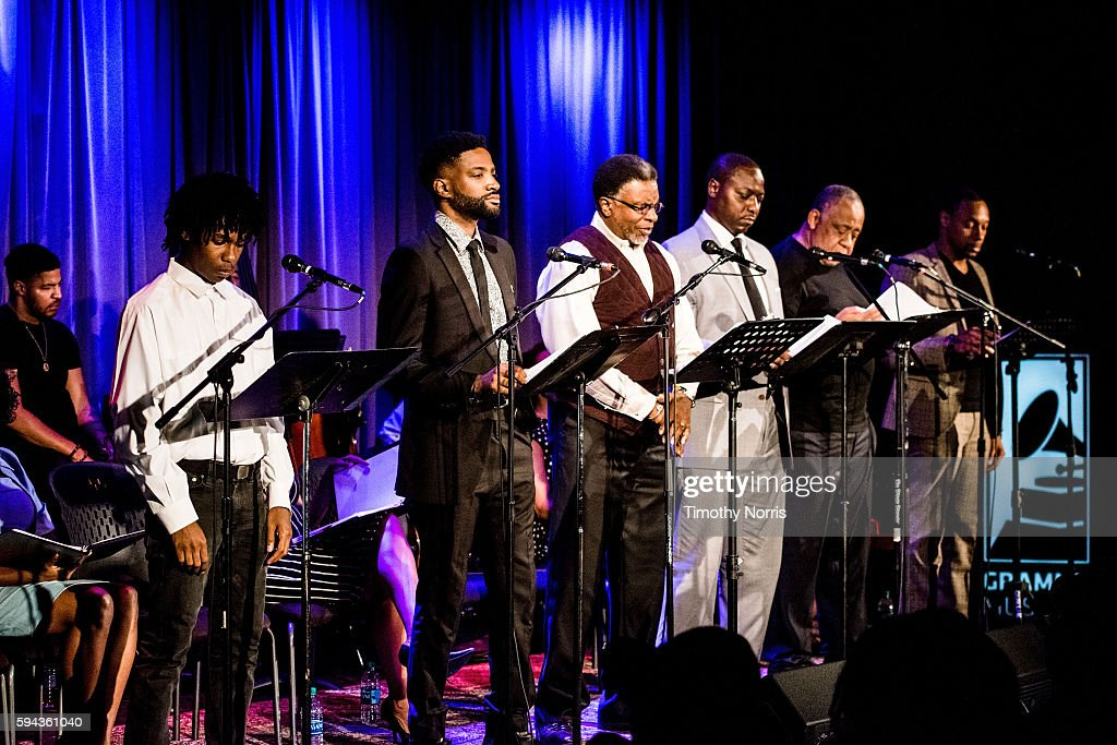 PJ Bucknor Reign Morton Keith David Dohn Norwood Barry Shabaka Henley and Dorian Missick perform during A Tribute To Langston Hughes at The GRAMMY...