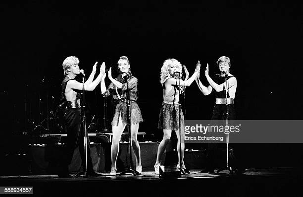 Bucks Fizz perform on stage at the Winter Gardens Margate United Kingdom 1982 LR Mike Nolan Cheryl Baker Jay Aston Bobby Gee