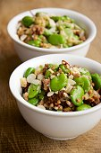 Buckwheat and Fava Bean Salad with hazelnuts and tomatoes