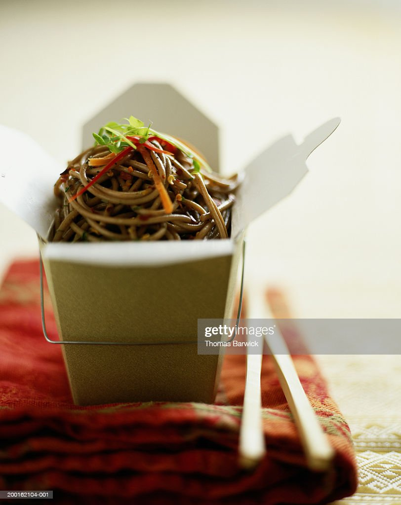 Buckwheat noodles in take-out container