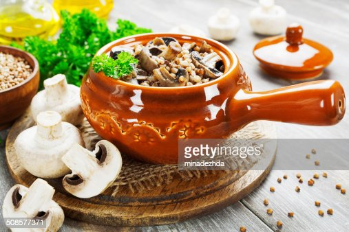Buckwheat porridge with mushrooms : Stock Photo