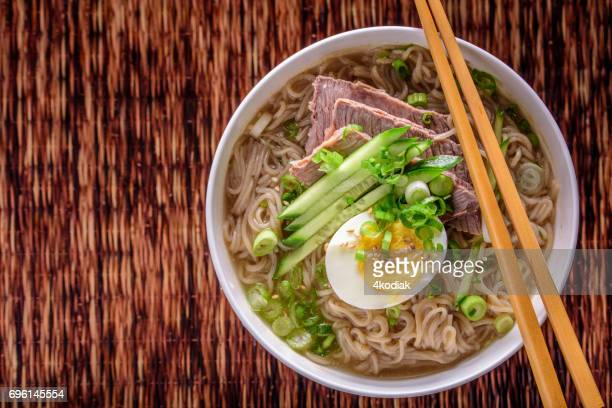 Buckwheat , Soba,Noodle Soup with Cucumber and Boiled Eggs , Beef