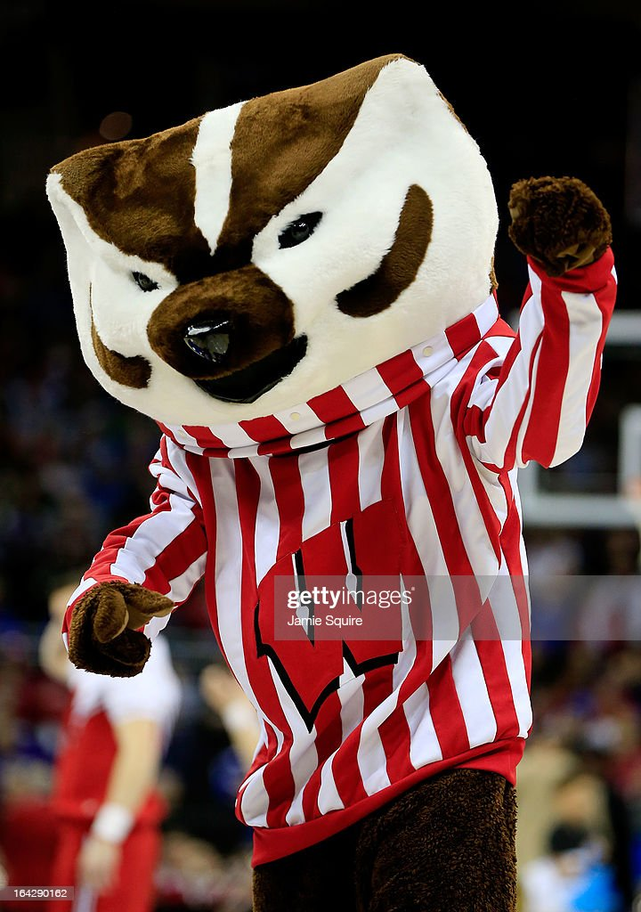Bucky Badger, mascot of the Wisconsin Badgers, performs in the first half against the Ole Miss Rebels during the second round of the 2013 NCAA Men's Basketball Tournament at the Sprint Center on March 22, 2013 in Kansas City, Missouri.