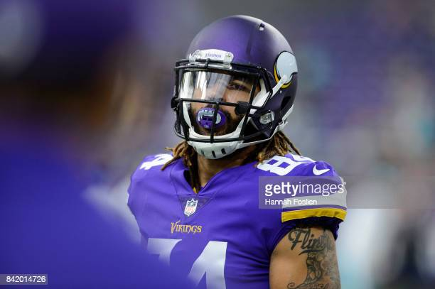Bucky Hodges of the Minnesota Vikings looks on before the preseason game against the Miami Dolphins on August 31 2017 at US Bank Stadium in...
