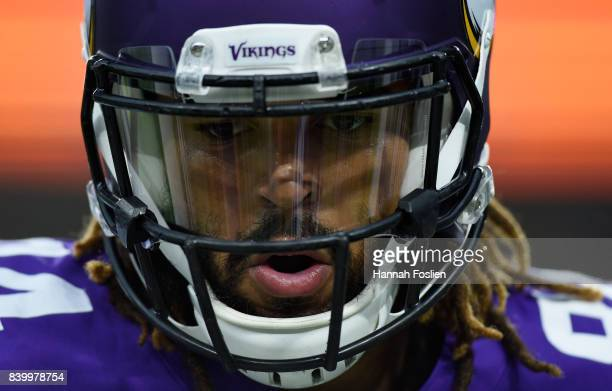 Bucky Hodges of the Minnesota Vikings looks on during warmups before the preseason game against the San Francisco 49ers on August 27 2017 at US Bank...