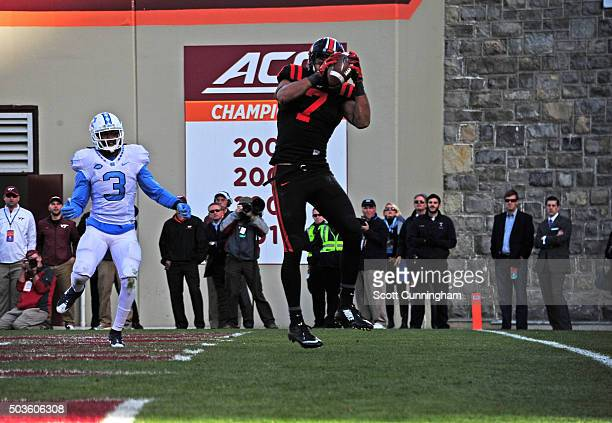 Bucky Hodges of the Virginia Tech Hokies makes a catch for a touchdown against the North Carolina Tar Heels on November 21 2015 at Lane Stadium in...