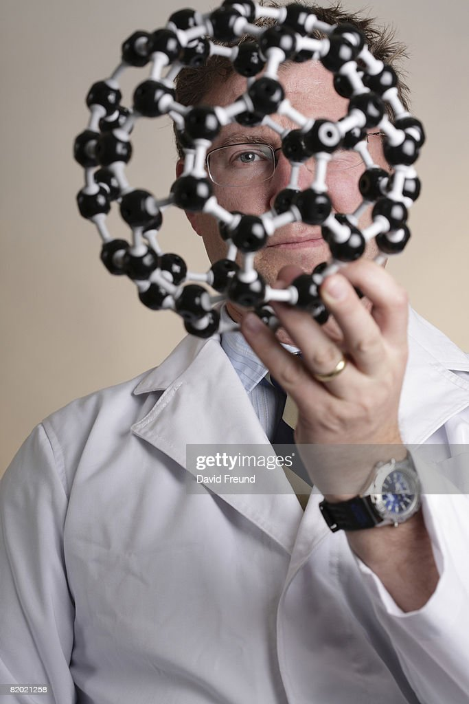 Buckyball or fullerene molecular mode with scientist