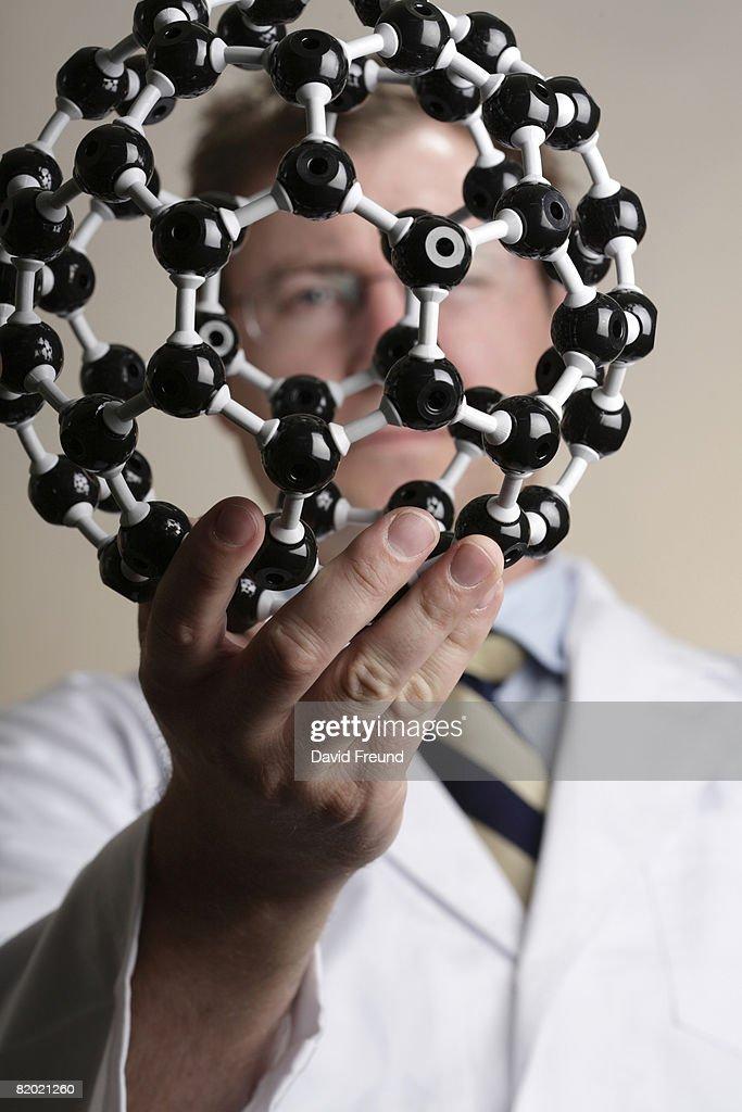 Buckyball or fullerene molecular model.