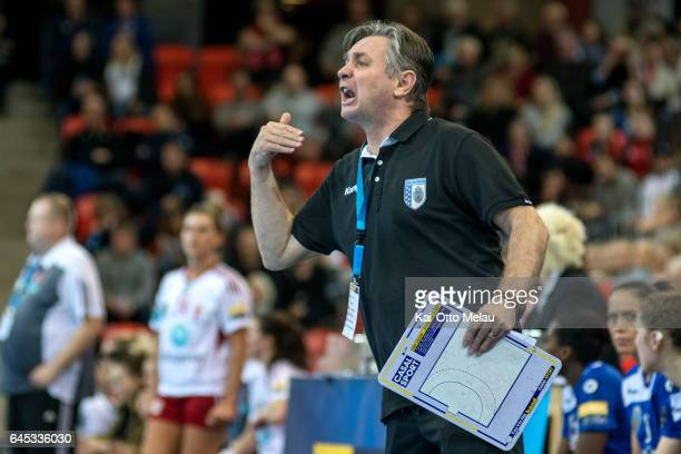 Bucuresti coach Aurelian Rosca in the Women's EHF Champions league match between Larvik HK and CSM Bucuresti on February 25 2017 in Larvik Norway