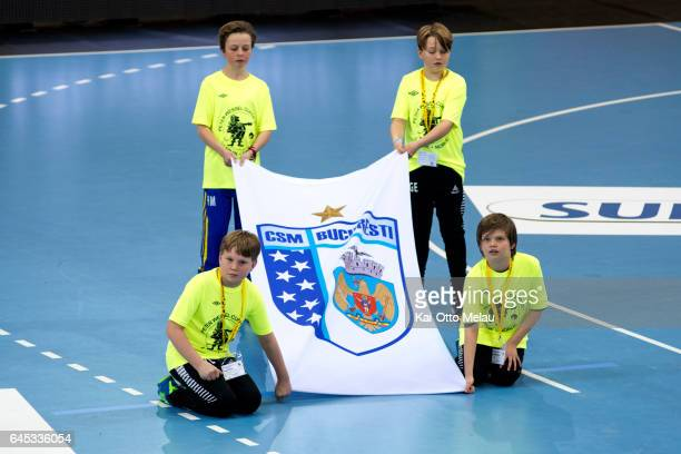 Bucuresti flag before the Women's EHF Champions league match between Larvik HK and CSM Bucuresti on February 25 2017 in Larvik Norway