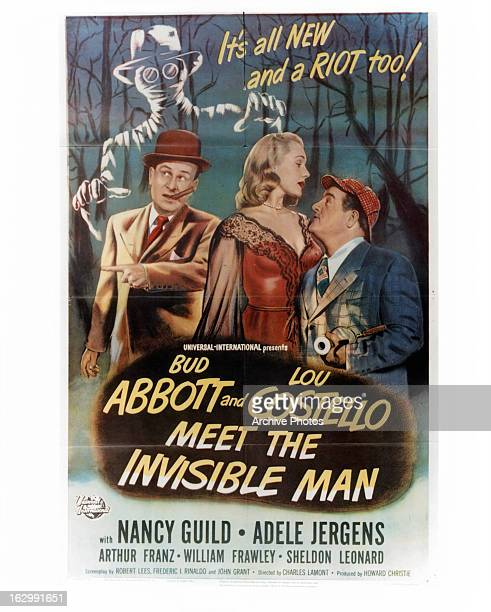 Bud Abbott Adele Jergens and Lou Costello in movie art for the film 'Abbott And Costello Meet The Invisible Man' 1951
