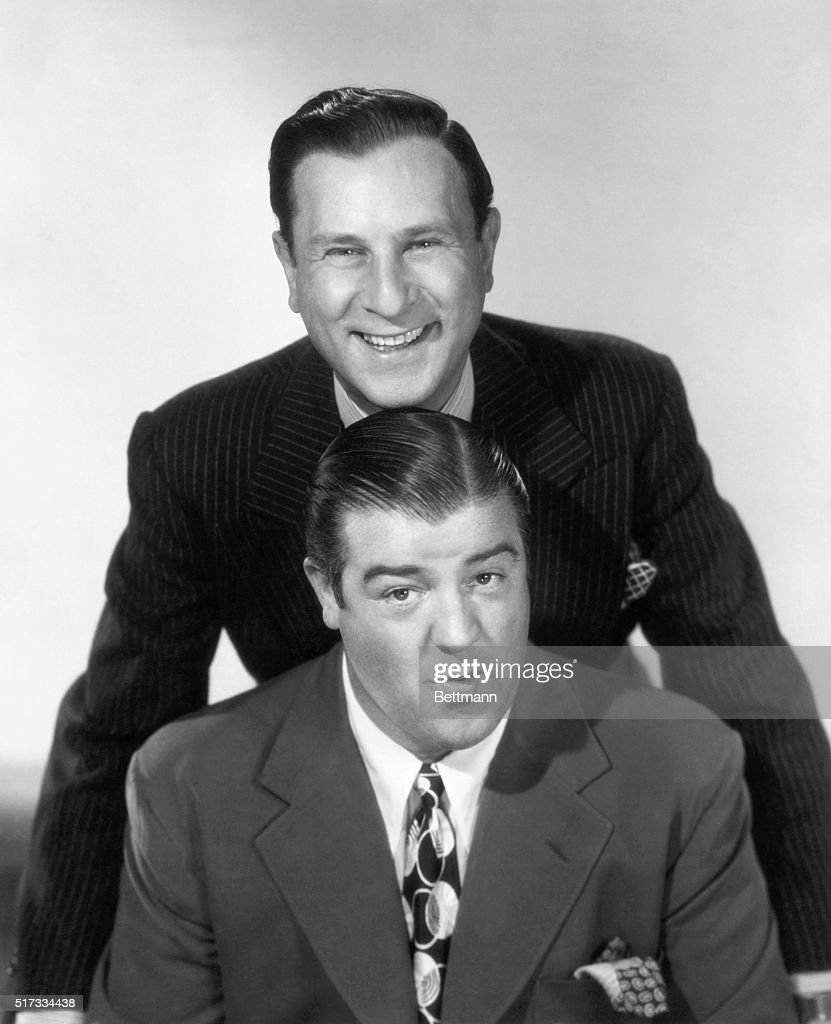 <a gi-track='captionPersonalityLinkClicked' href=/galleries/search?phrase=Bud+Abbott&family=editorial&specificpeople=228402 ng-click='$event.stopPropagation()'>Bud Abbott</a> (1895-1975) and <a gi-track='captionPersonalityLinkClicked' href=/galleries/search?phrase=Lou+Costello&family=editorial&specificpeople=123845 ng-click='$event.stopPropagation()'>Lou Costello</a> (1906-1959), American comedy duo who reached the peak of their success in the late 1930's and 1940's. Undated photograph.
