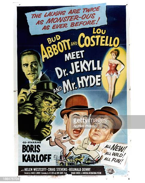 Bud Abbott and Lou Costello in movie art for the film 'Abbott And Costello Meet Dr Jekyll And Mr Hyde' 1953