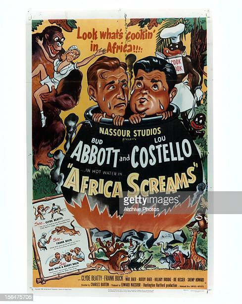 Bud Abbott and Lou Costello in movie art for the film 'Africa Screams' 1949