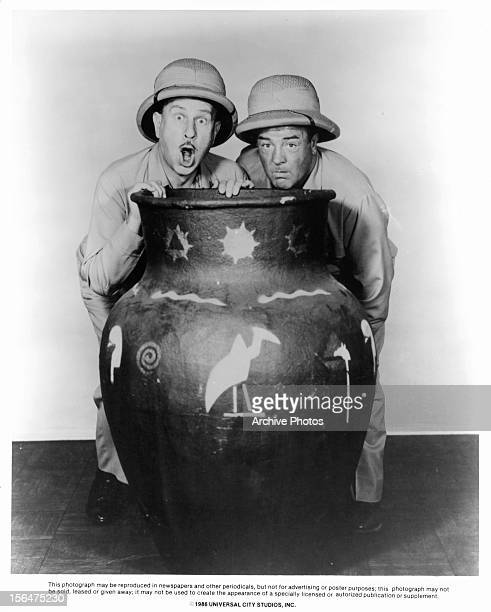 Bud Abbott and Lou Costello publicity portrait for the film 'Africa Screams' 1949
