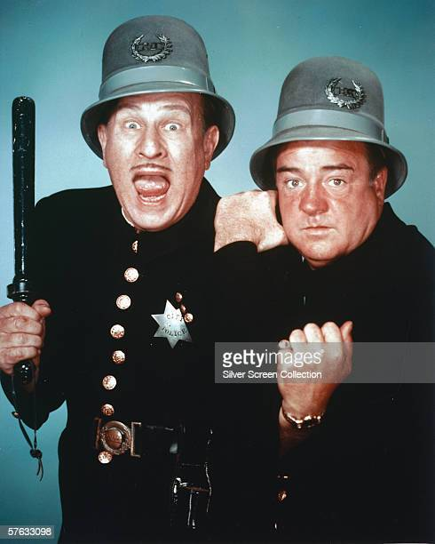 Bud Abbott as Harry Pierce and Lou Costello as Willie Piper in 'Abbott and Costello Meet the Keystone Kops' 1955