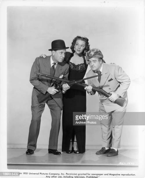 Bud Abbott Dorothy Shay and Lou Costello in publicity portrait for the film 'Comin' Round The Mountain' 1951