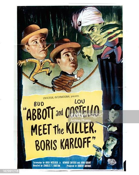 Bud Abbott Lou Costello and Boris Karloff in movie art for the film 'Abbott And Costello Meet The Killer Boris Karloff' 1949