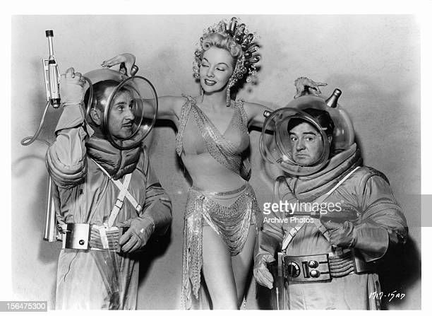 Bud Abbott Mari Blanchard and Lou Costello publicity portrait for the film 'Abbott And Costello Go To Mars' 1953
